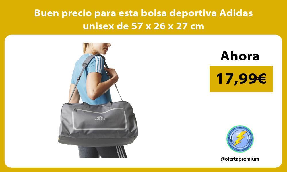 Buen precio para esta bolsa deportiva Adidas unisex de 57 x 26 x 27 cm