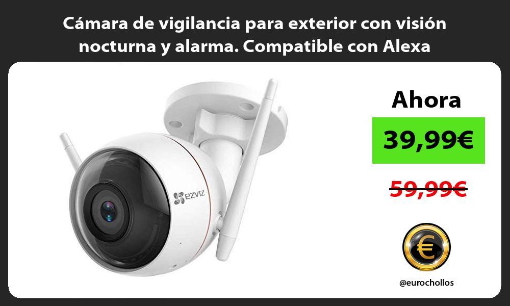 Cámara de vigilancia para exterior con visión nocturna y alarma Compatible con Alexa