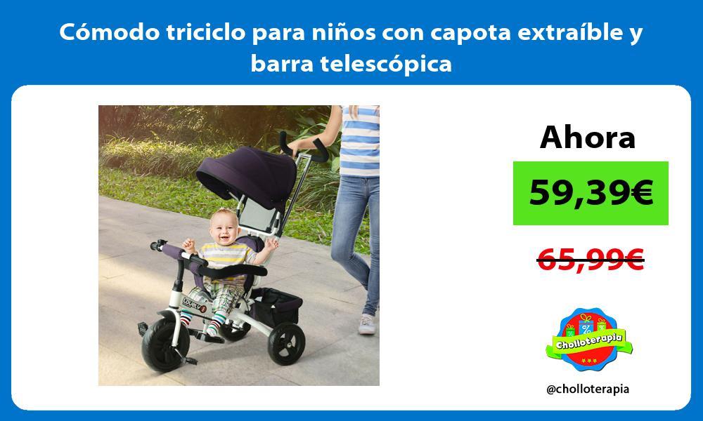 Cómodo triciclo para niños con capota extraíble y barra telescópica