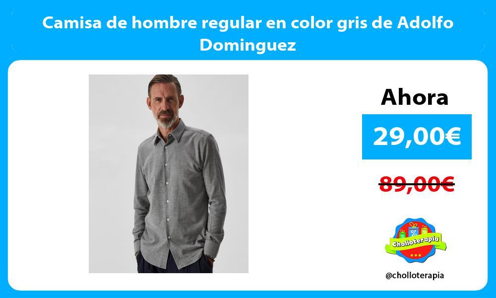 Camisa de hombre regular en color gris de Adolfo Dominguez