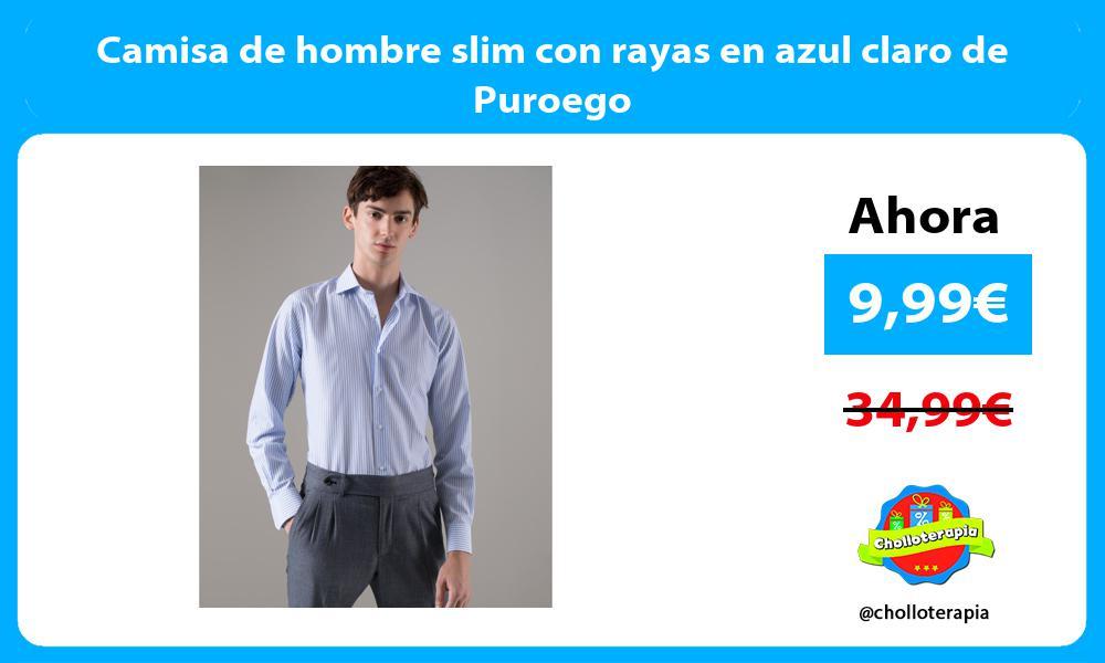Camisa de hombre slim con rayas en azul claro de Puroego