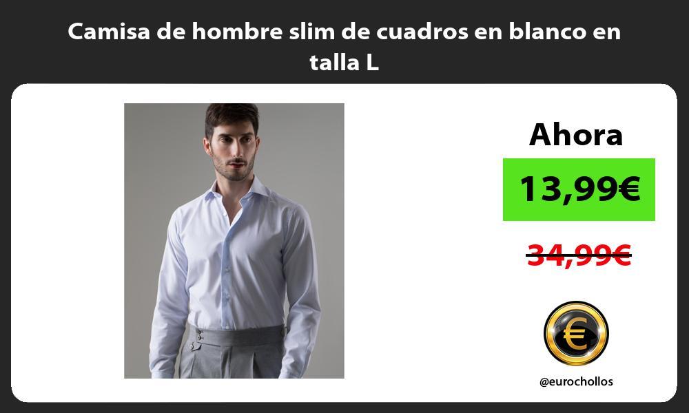 Camisa de hombre slim de cuadros en blanco en talla L