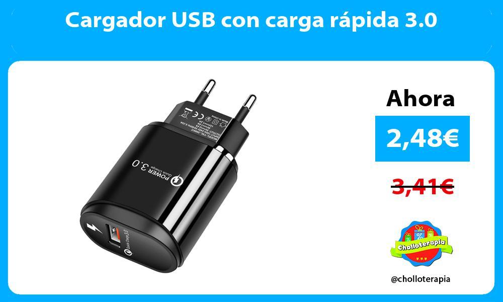 Cargador USB con carga rápida 3 0