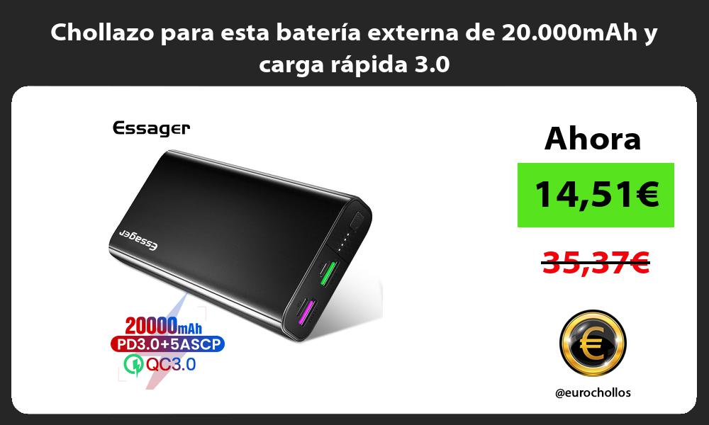 Chollazo para esta batería externa de 20 000mAh y carga rápida 3 0