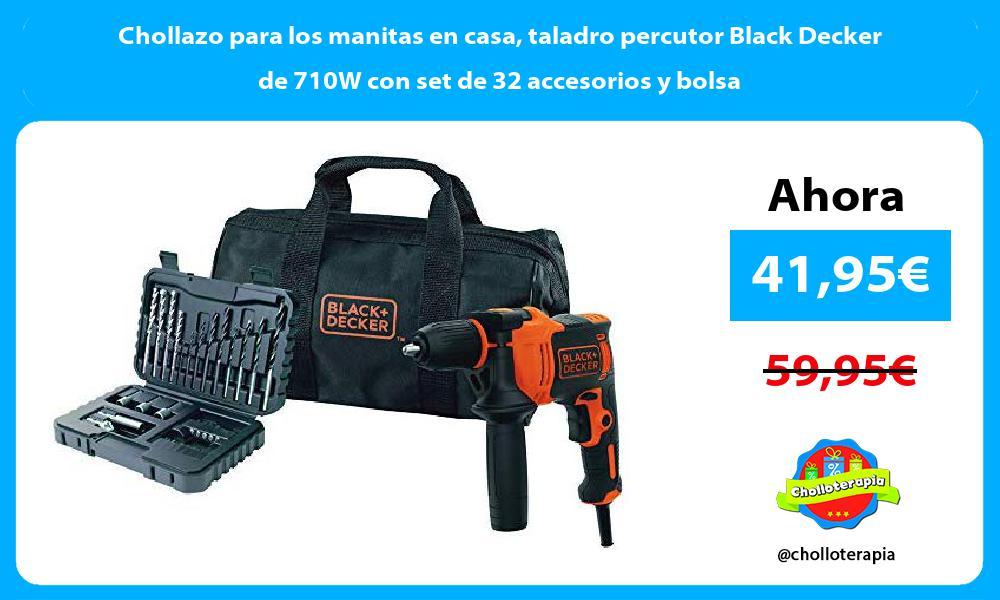 Chollazo para los manitas en casa taladro percutor Black Decker de 710W con set de 32 accesorios y bolsa