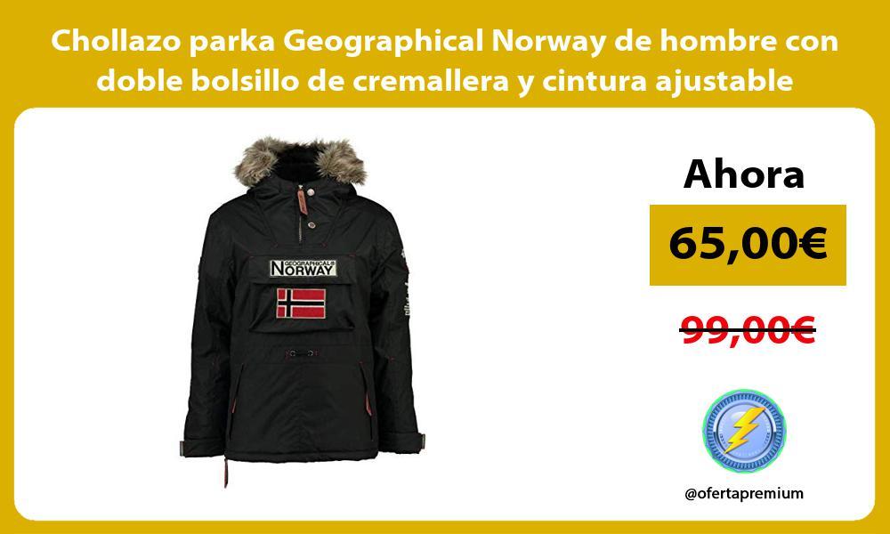 Chollazo parka Geographical Norway de hombre con doble bolsillo de cremallera y cintura ajustable