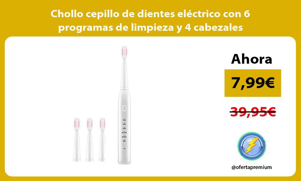 Chollo cepillo de dientes eléctrico con 6 programas de limpieza y 4 cabezales