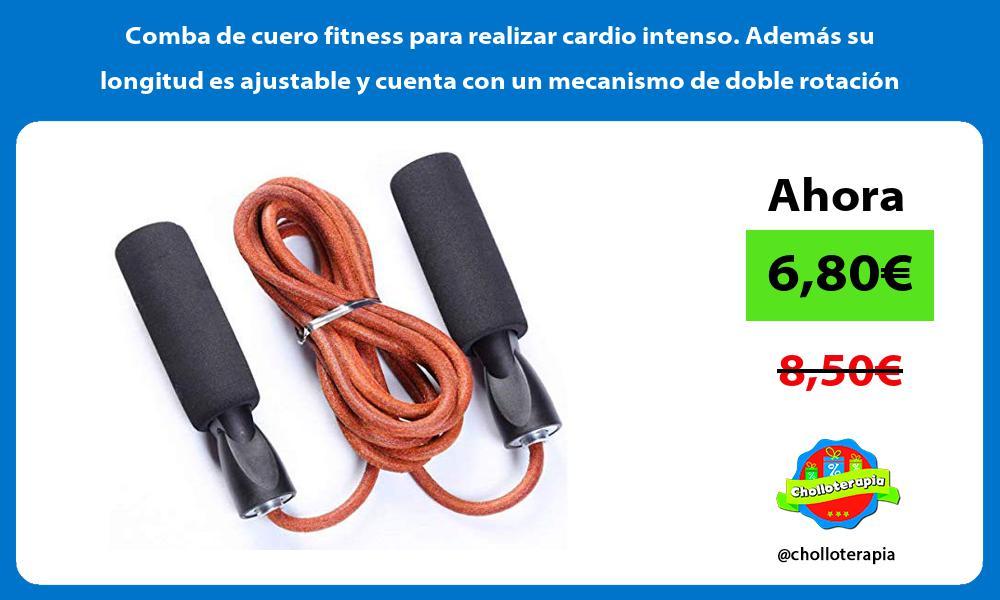 Comba de cuero fitness para realizar cardio intenso Además su longitud es ajustable y cuenta con un mecanismo de doble rotación