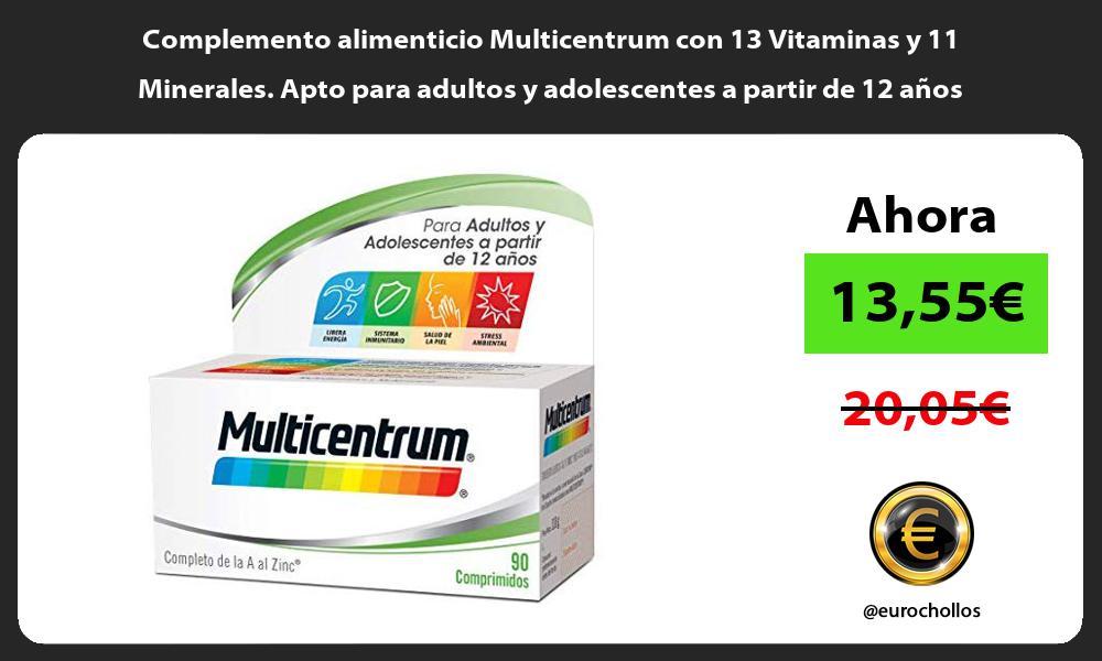 Complemento alimenticio Multicentrum con 13 Vitaminas y 11 Minerales Apto para adultos y adolescentes a partir de 12 años