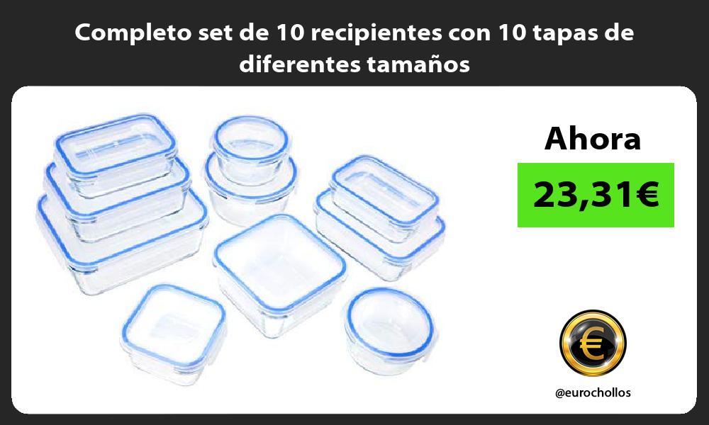 Completo set de 10 recipientes con 10 tapas de diferentes tamaños