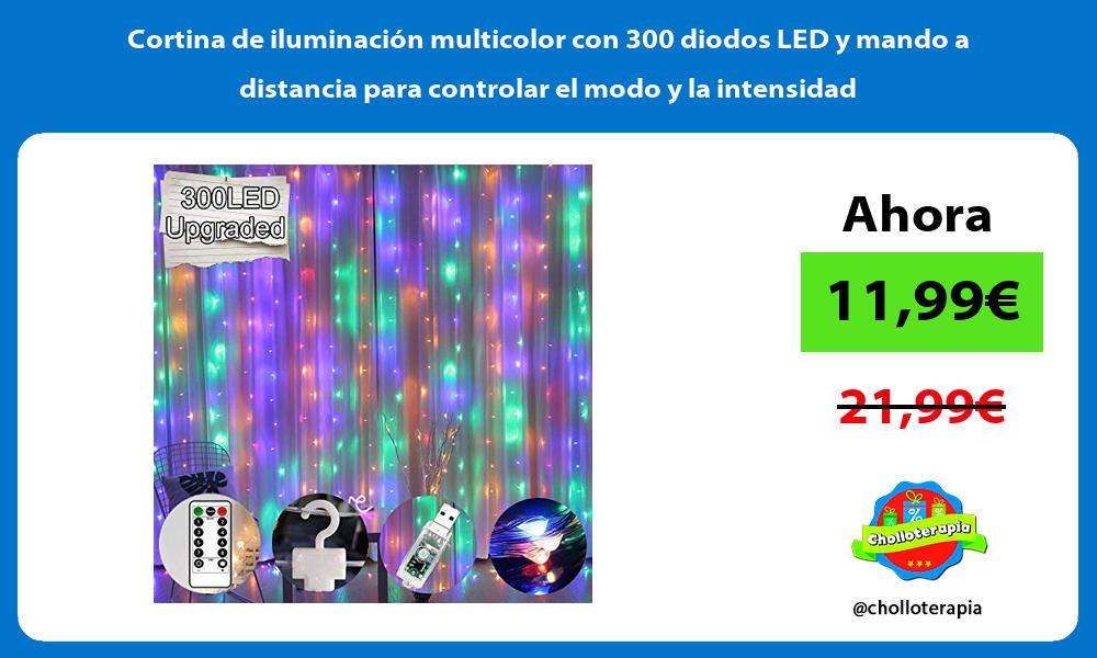 Cortina de iluminación multicolor con 300 diodos LED y mando a distancia para controlar el modo y la intensidad