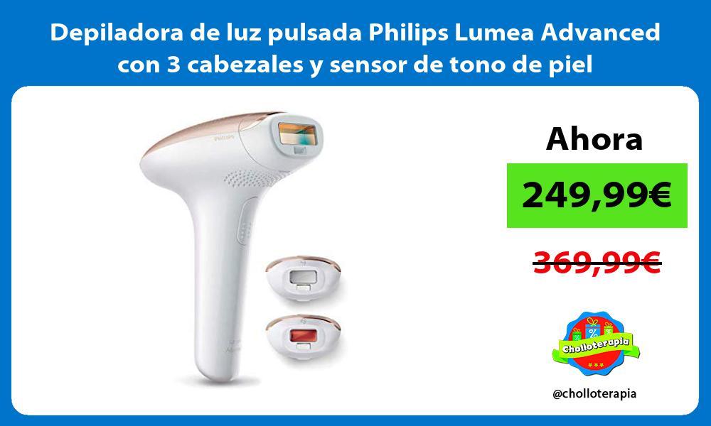 Depiladora de luz pulsada Philips Lumea Advanced con 3 cabezales y sensor de tono de piel