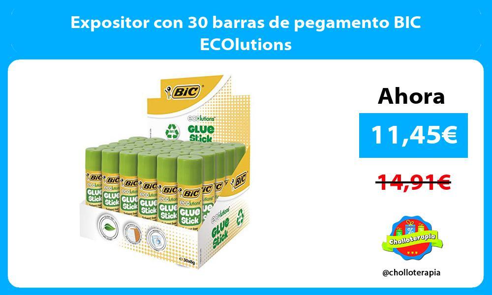 Expositor con 30 barras de pegamento BIC ECOlutions