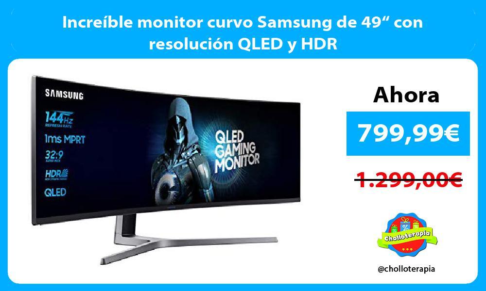 """Increíble monitor curvo Samsung de 49"""" con resolución QLED y HDR"""