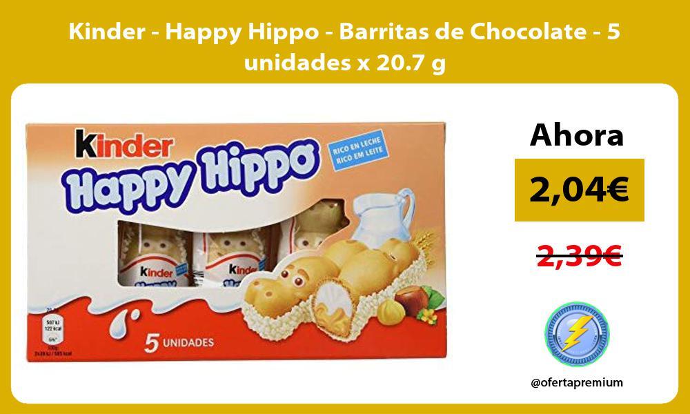 Kinder Happy Hippo Barritas de Chocolate 5 unidades x 20 7 g