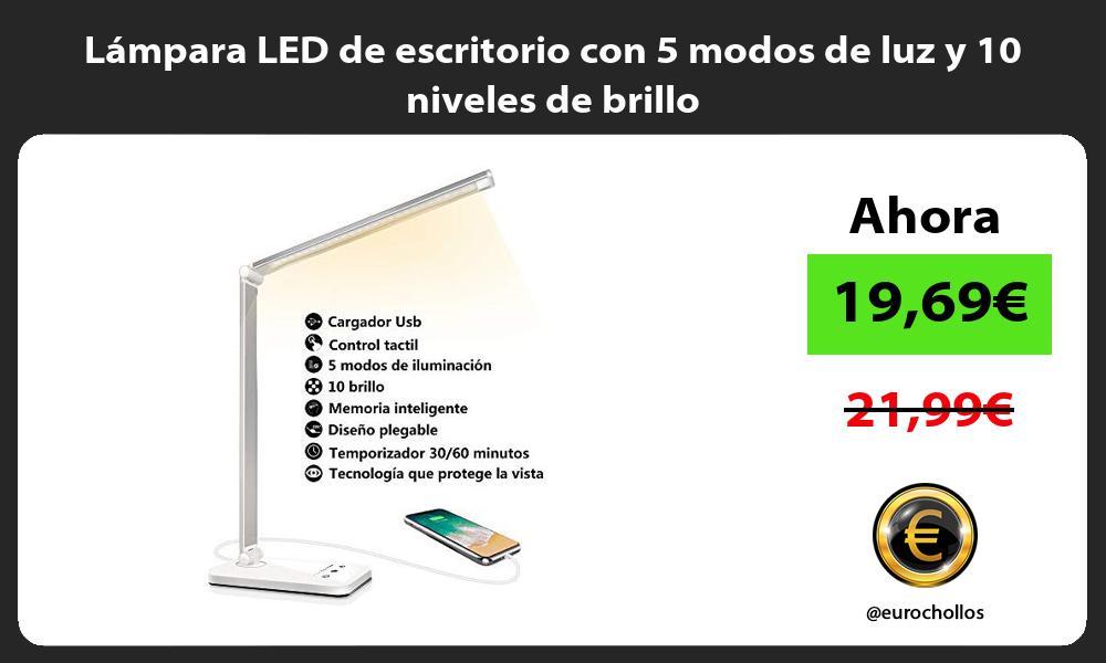 Lámpara LED de escritorio con 5 modos de luz y 10 niveles de brillo