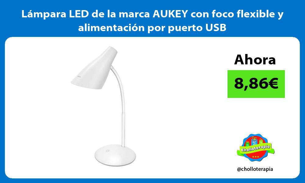 Lámpara LED de la marca AUKEY con foco flexible y alimentación por puerto USB