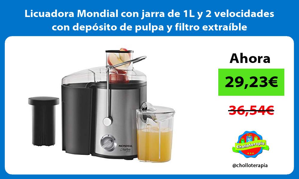 Licuadora Mondial con jarra de 1L y 2 velocidades con depósito de pulpa y filtro extraíble