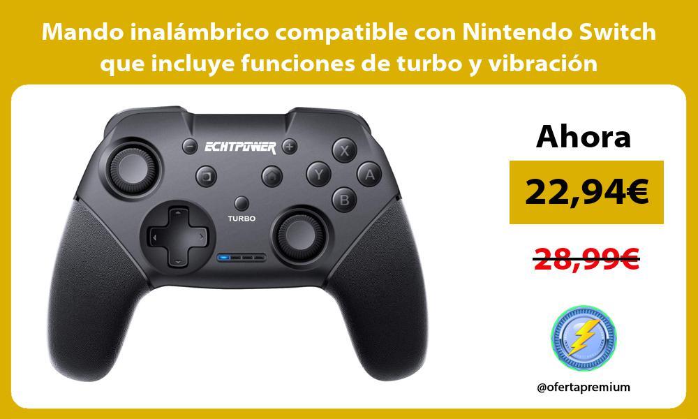 Mando inalámbrico compatible con Nintendo Switch que incluye funciones de turbo y vibración