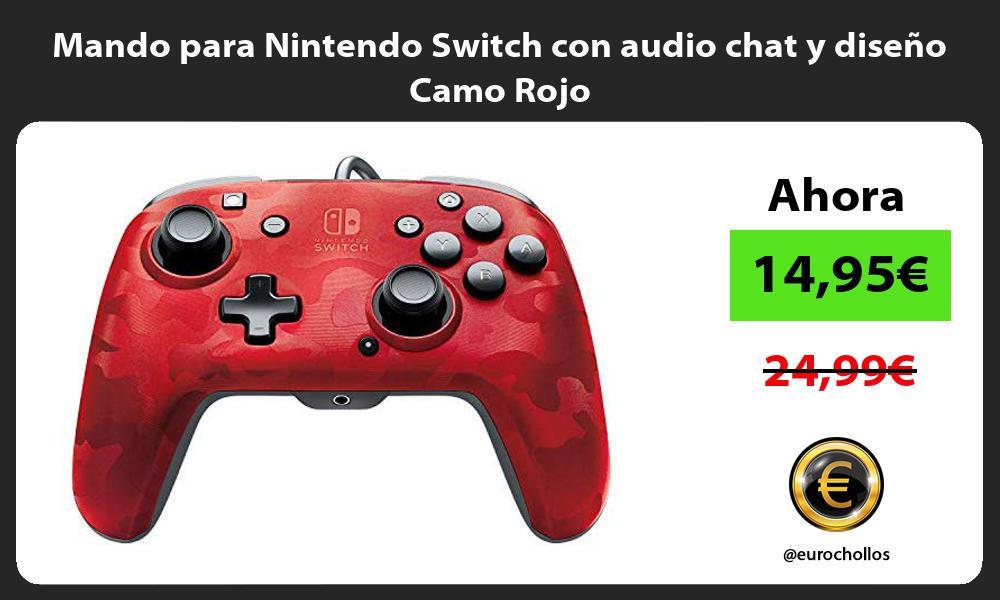 Mando para Nintendo Switch con audio chat y diseño Camo Rojo