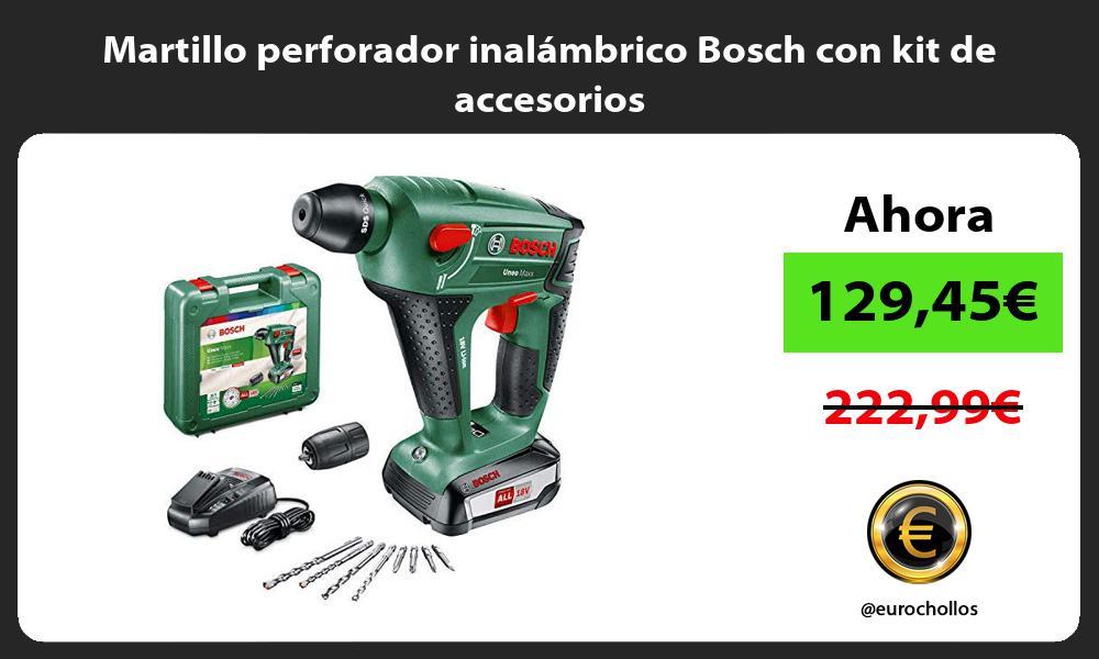 Martillo perforador inalámbrico Bosch con kit de accesorios