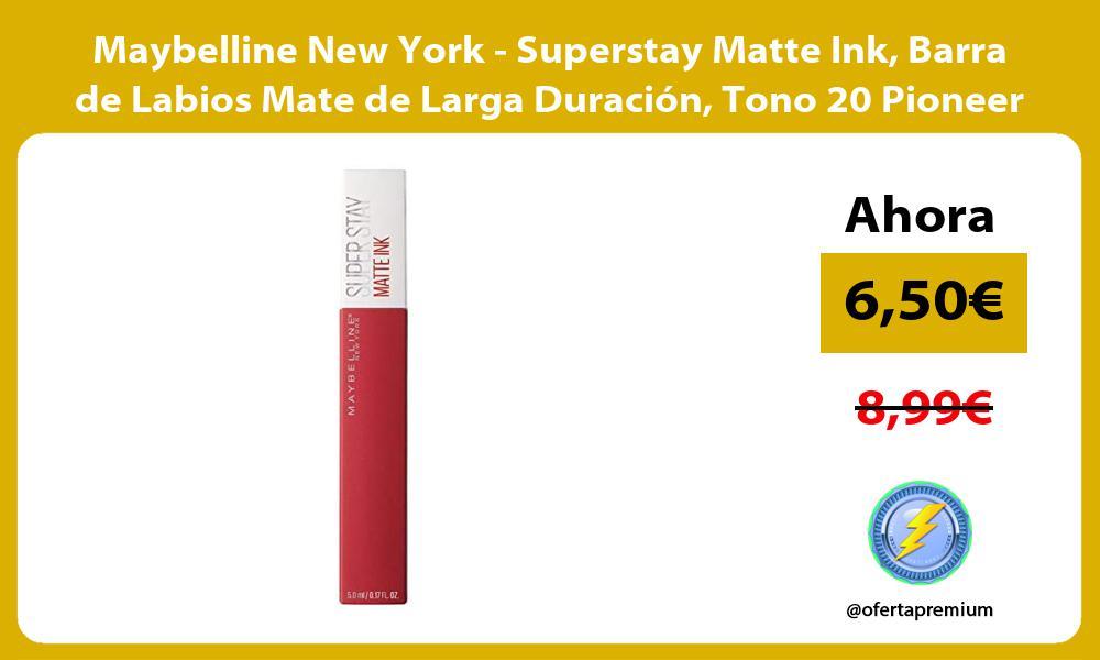Maybelline New York Superstay Matte Ink Barra de Labios Mate de Larga Duración Tono 20 Pioneer