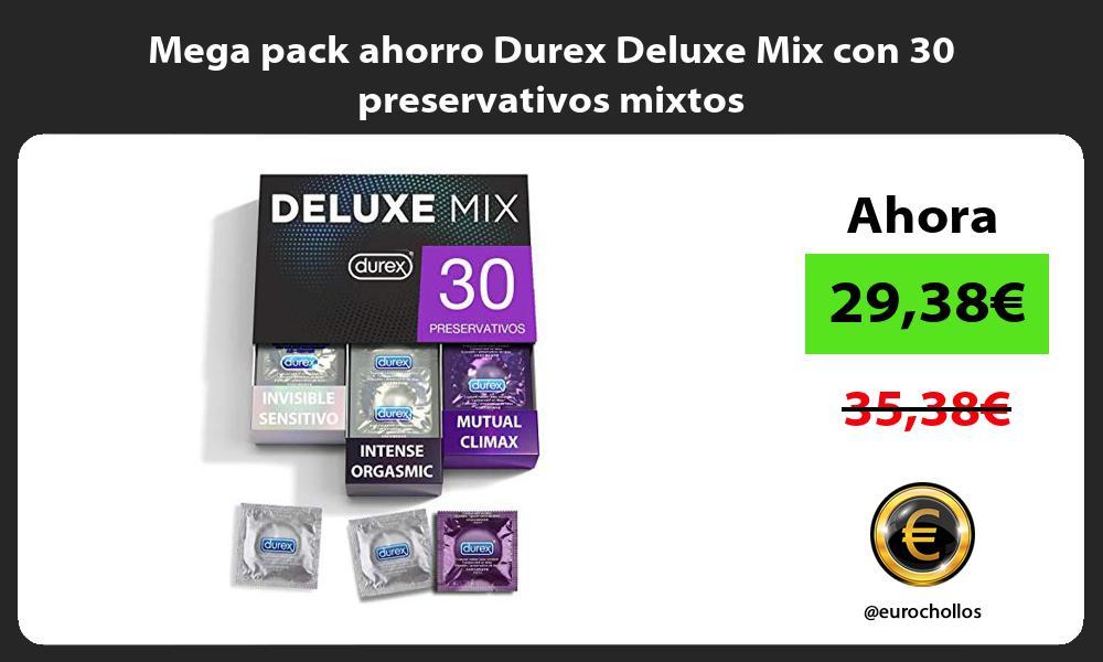 Mega pack ahorro Durex Deluxe Mix con 30 preservativos mixtos