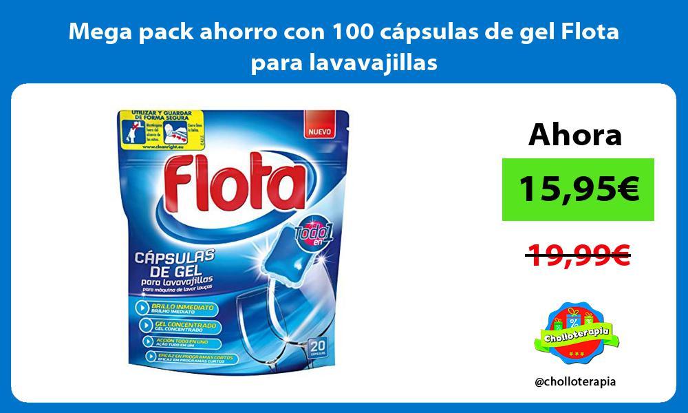 Mega pack ahorro con 100 cápsulas de gel Flota para lavavajillas