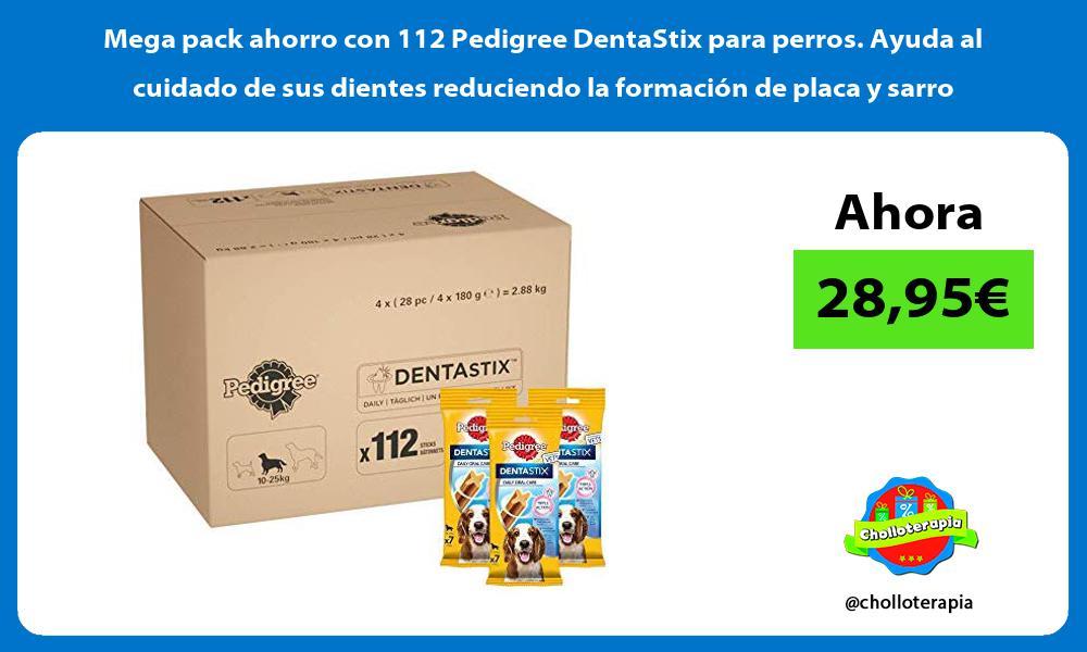 Mega pack ahorro con 112 Pedigree DentaStix para perros Ayuda al cuidado de sus dientes reduciendo la formación de placa y sarro