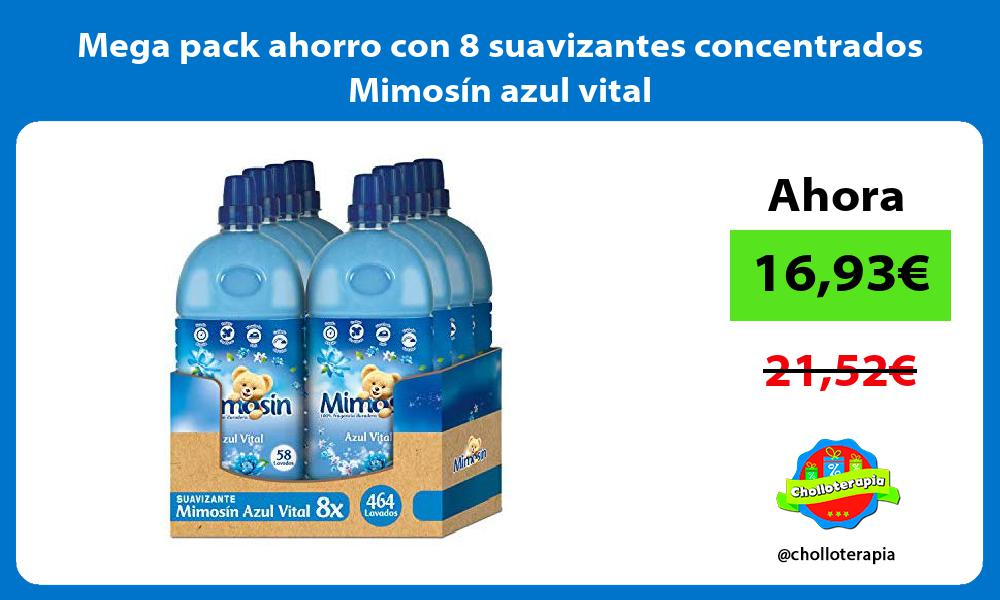 Mega pack ahorro con 8 suavizantes concentrados Mimosín azul vital