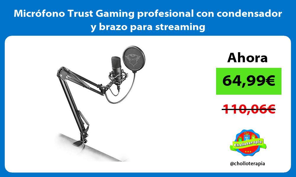 Micrófono Trust Gaming profesional con condensador y brazo para streaming