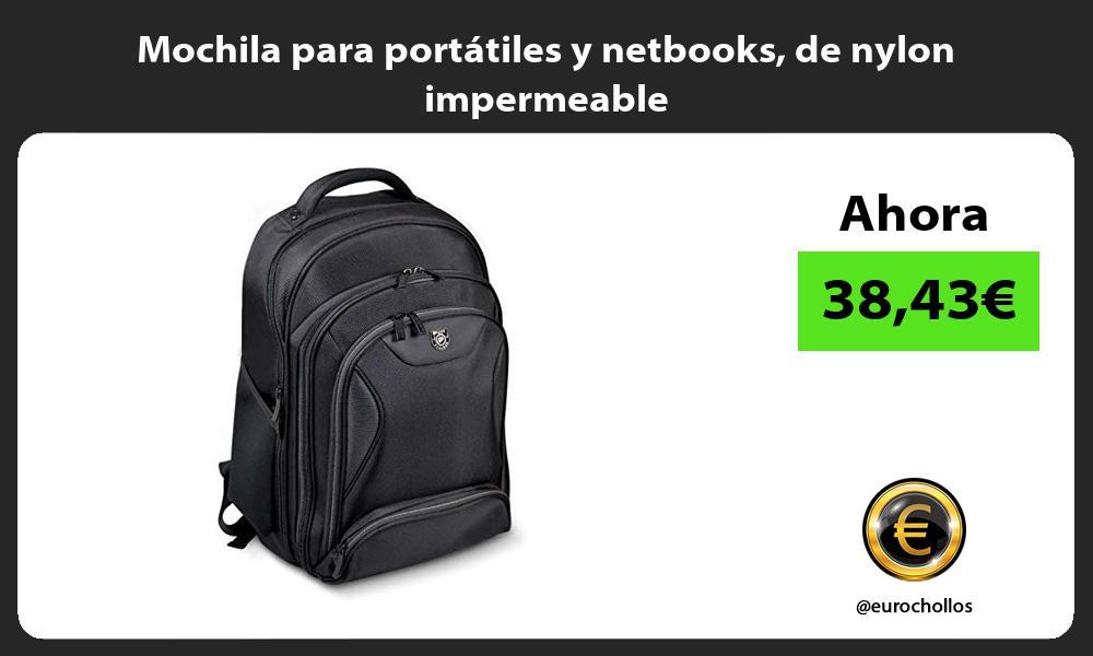 Mochila para portátiles y netbooks de nylon impermeable