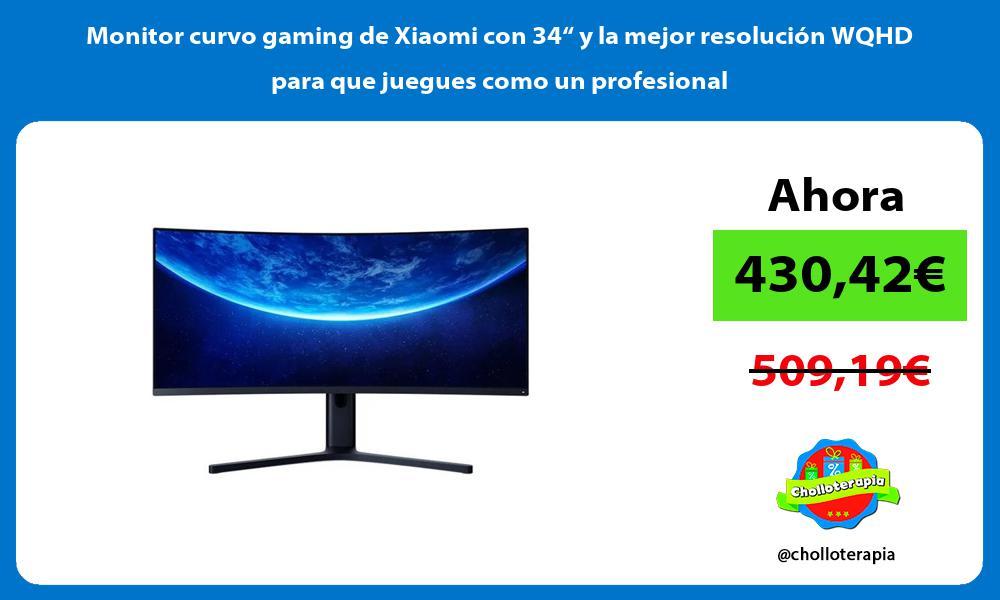 """Monitor curvo gaming de Xiaomi con 34"""" y la mejor resolución WQHD para que juegues como un profesional"""