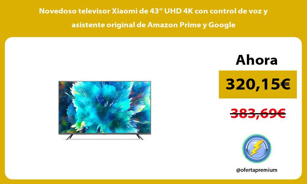 """Novedoso televisor Xiaomi de 43"""" UHD 4K con control de voz y asistente original de Amazon Prime y Google"""