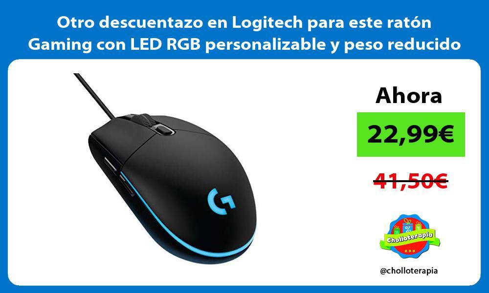 Otro descuentazo en Logitech para este ratón Gaming con LED RGB personalizable y peso reducido