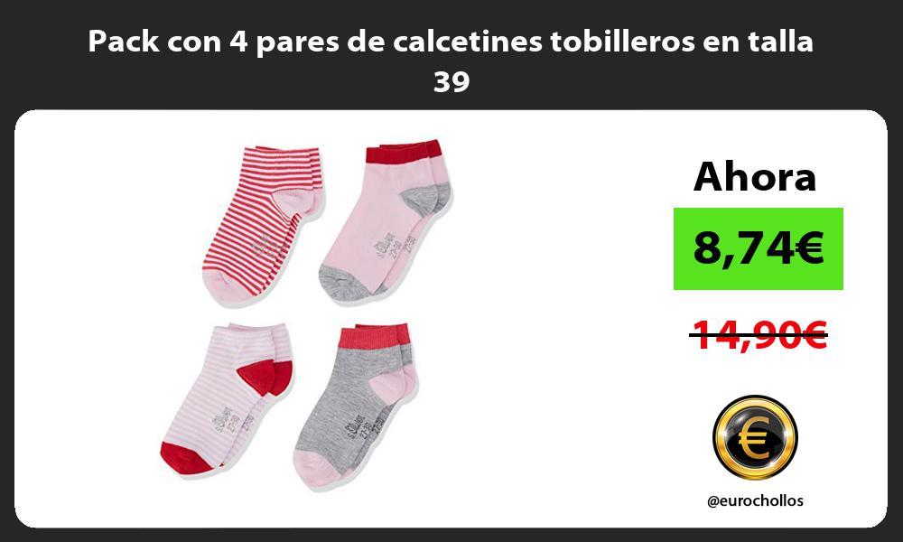 Pack con 4 pares de calcetines tobilleros en talla 39
