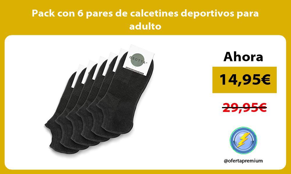 Pack con 6 pares de calcetines deportivos para adulto