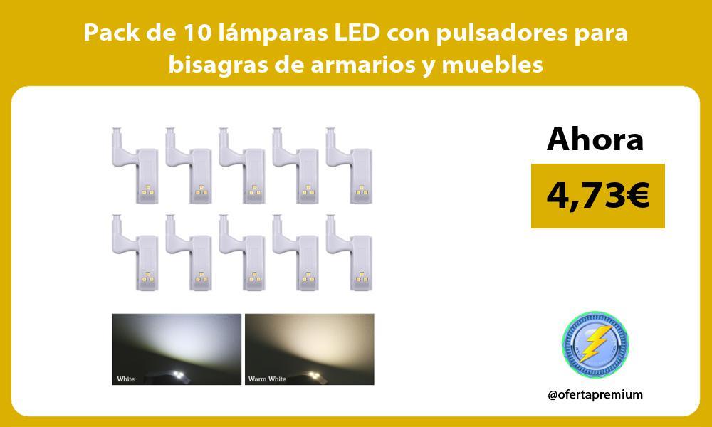 Pack de 10 lámparas LED con pulsadores para bisagras de armarios y muebles