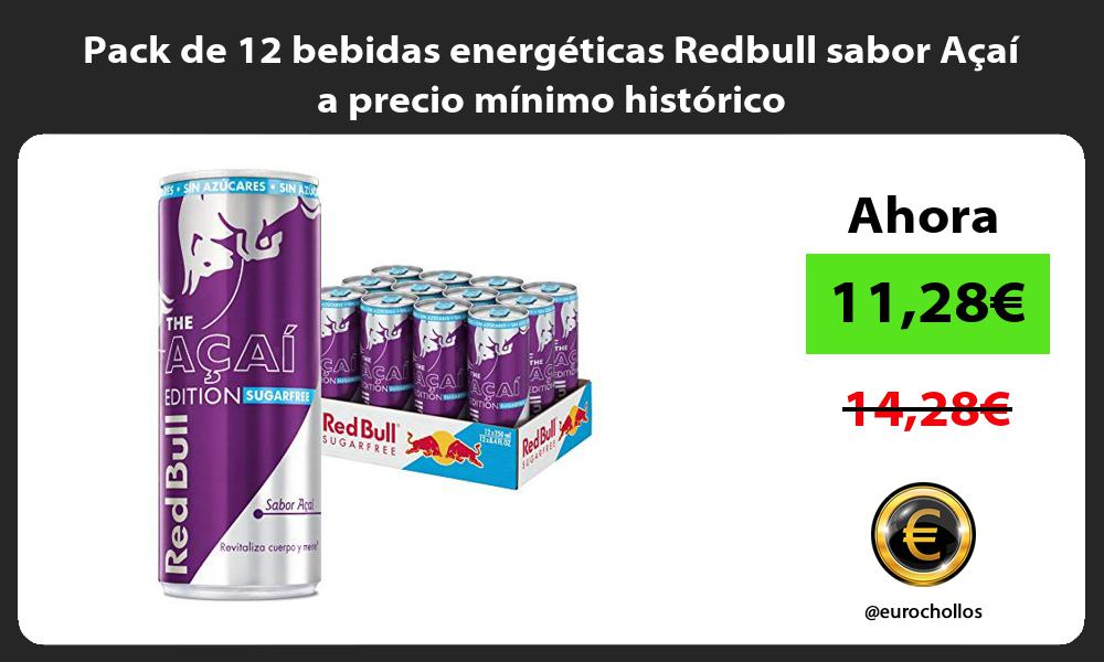 Pack de 12 bebidas energéticas Redbull sabor Açaí a precio mínimo histórico