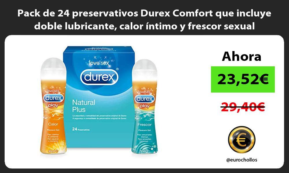 Pack de 24 preservativos Durex Comfort que incluye doble lubricante calor íntimo y frescor sexual