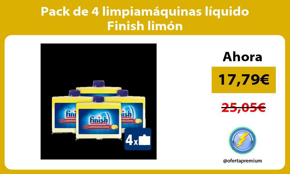 Pack de 4 limpiamáquinas líquido Finish limón