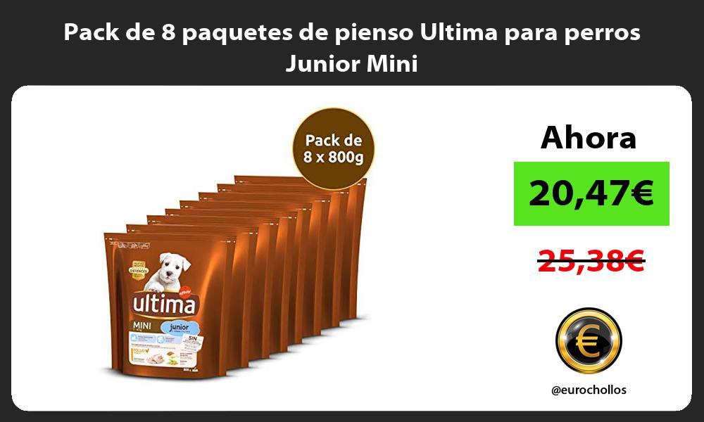 Pack de 8 paquetes de pienso Ultima para perros Junior Mini