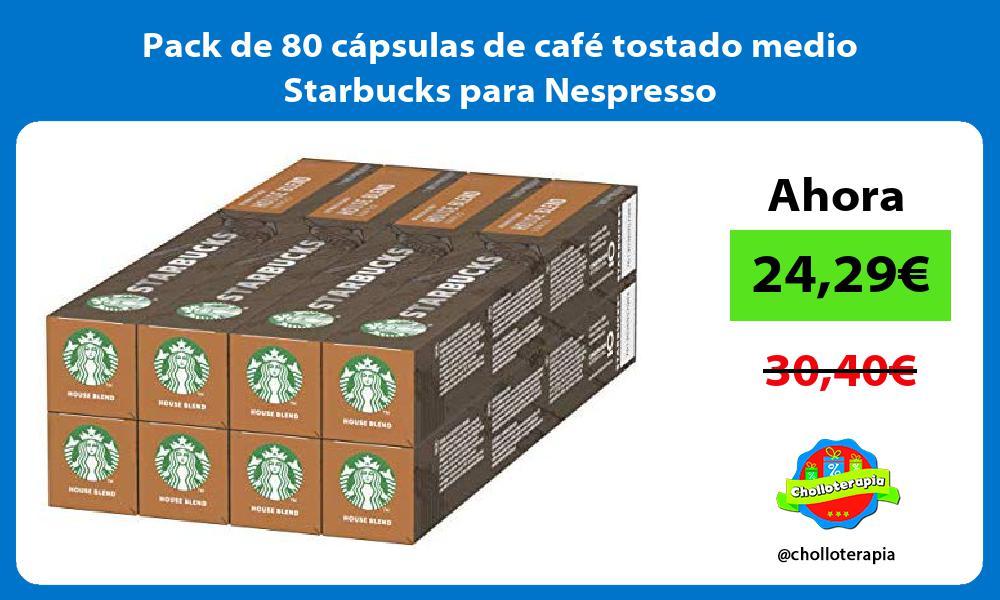 Pack de 80 cápsulas de café tostado medio Starbucks para Nespresso