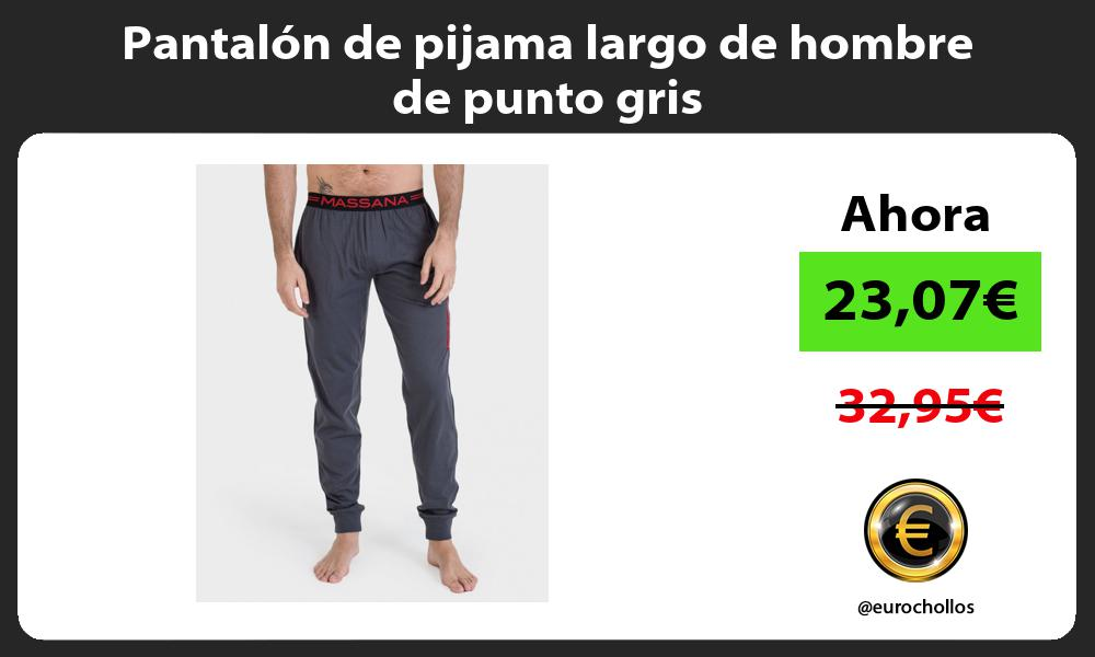 Pantalón de pijama largo de hombre de punto gris