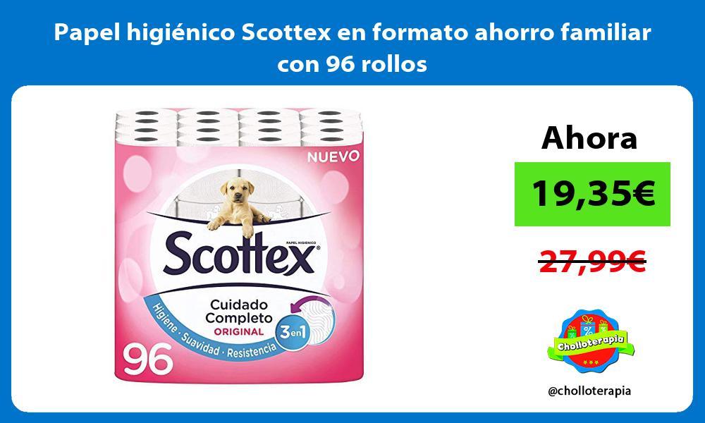 Papel higiénico Scottex en formato ahorro familiar con 96 rollos