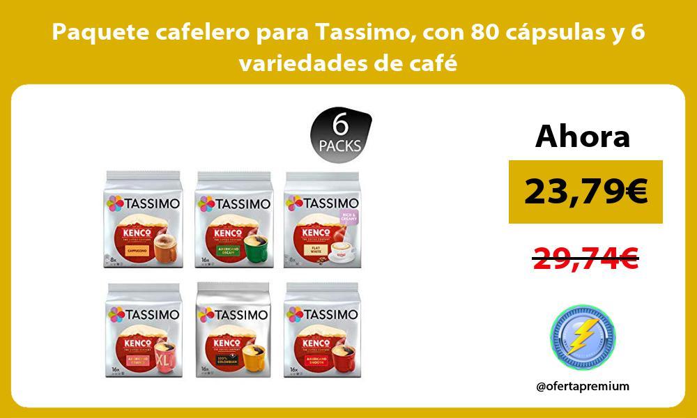 Paquete cafelero para Tassimo con 80 cápsulas y 6 variedades de café