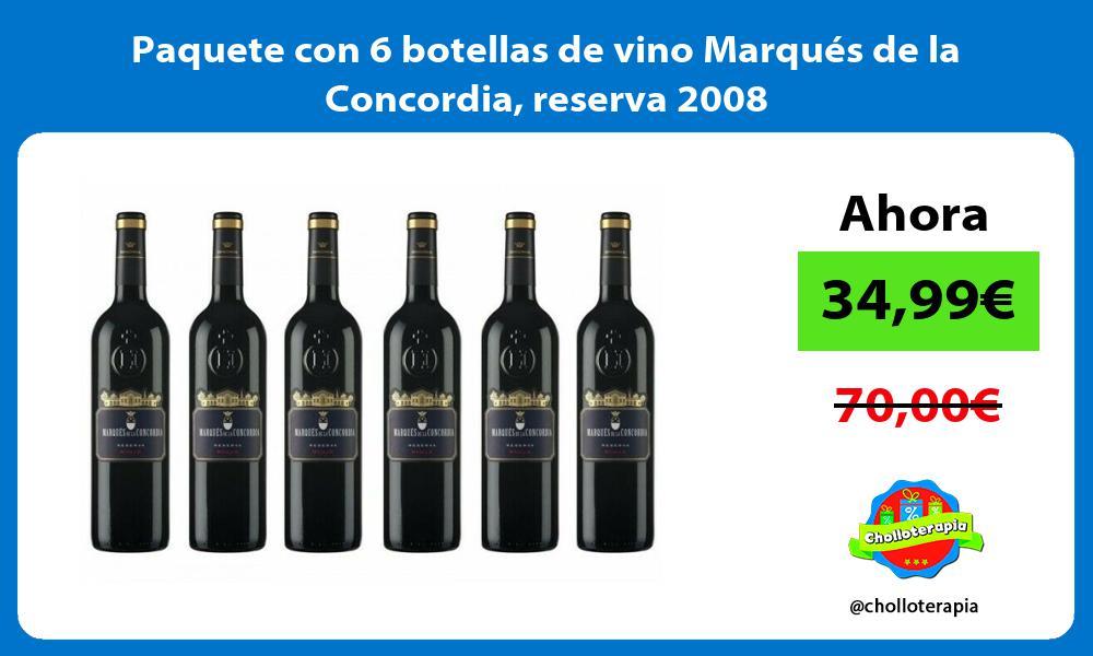 Paquete con 6 botellas de vino Marqués de la Concordia reserva 2008