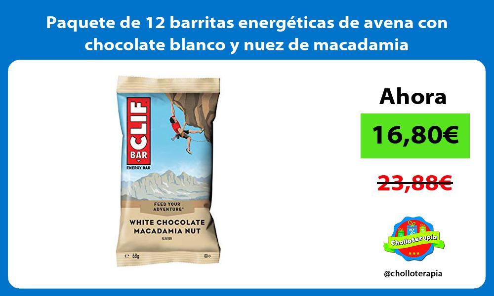 Paquete de 12 barritas energéticas de avena con chocolate blanco y nuez de macadamia
