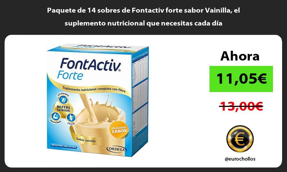 Paquete de 14 sobres de Fontactiv forte sabor Vainilla el suplemento nutricional que necesitas cada día