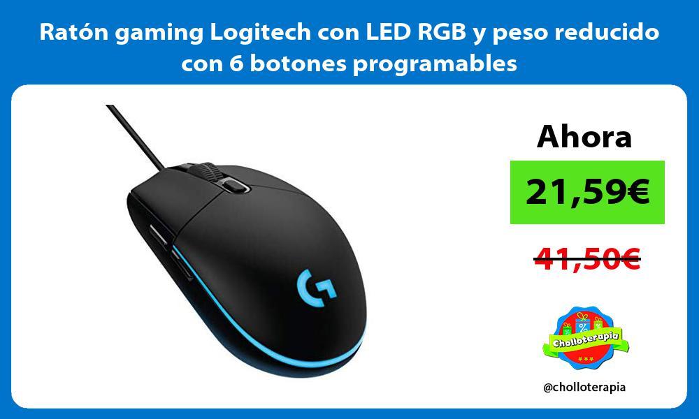 Ratón gaming Logitech con LED RGB y peso reducido con 6 botones programables